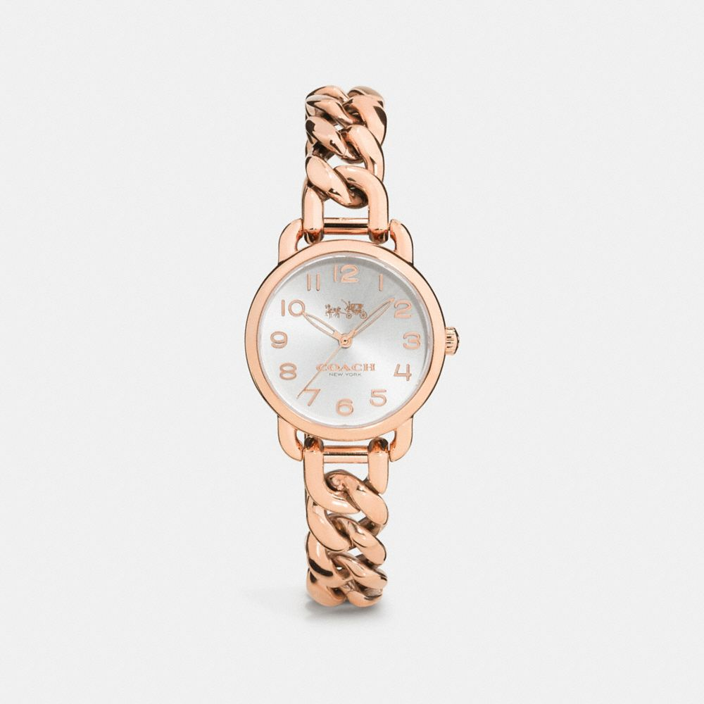 Coach Delancey 28mm Rose Gold Plated Chain Link Bracelet Watch