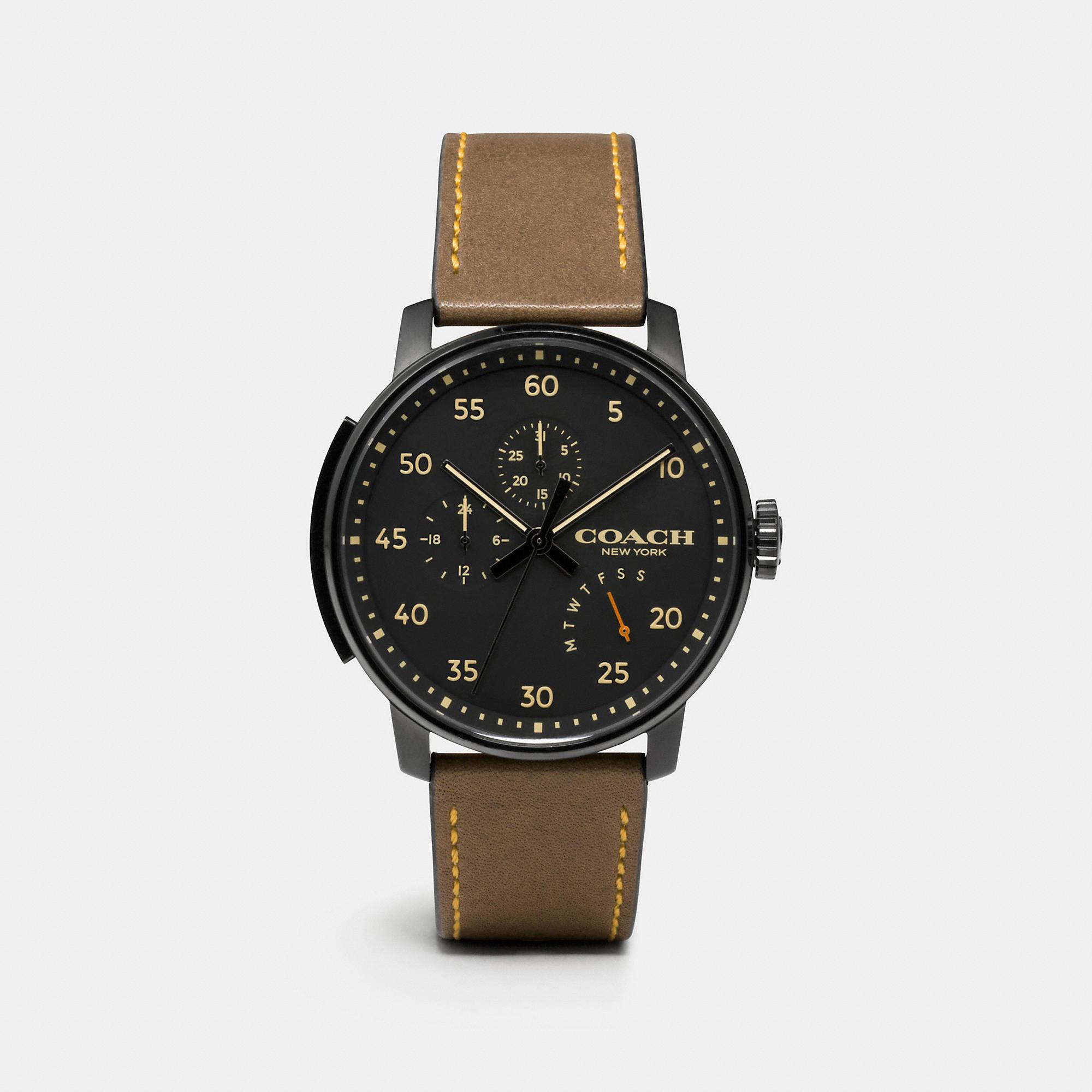 Coach Bleecker Leather Strap Watch