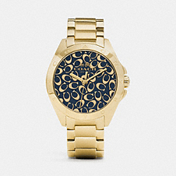 COACH TRISTEN SPRAYED C DIAL GOLD PLATED BRACELET WATCH - GOLD/NAVY - W1450