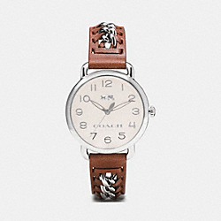 DELANCEY STAINLESS STEEL CHAIN LEATHER STRAP - SADDLE - COACH W1526