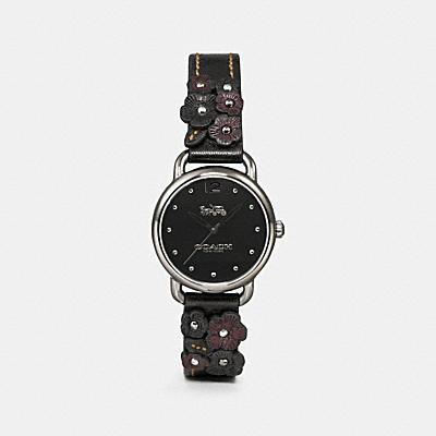 DELANCEY 皮革花卉貼飾腕錶