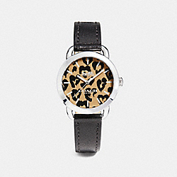 LEX LEATHER STRAP WATCH WITH PRINTED DIAL - BLACK - COACH W1534