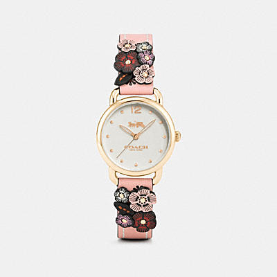 DELANCEY WATCH WITH FLORAL APPLIQUE, 28MM