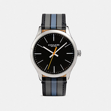 COACH BAXTER LEATHER STRAP WATCH WITH VARSITY STRIPE - D9B - w1545