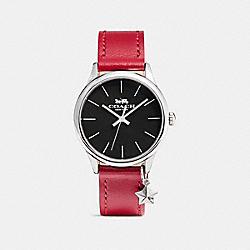 COACH RUBY LEATHER STRAP WATCH - RED/BLACK - W1549