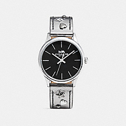 COACH RUBY LEATHER STRAP WATCH WITH STUDS - METALLIC GREY - W1550