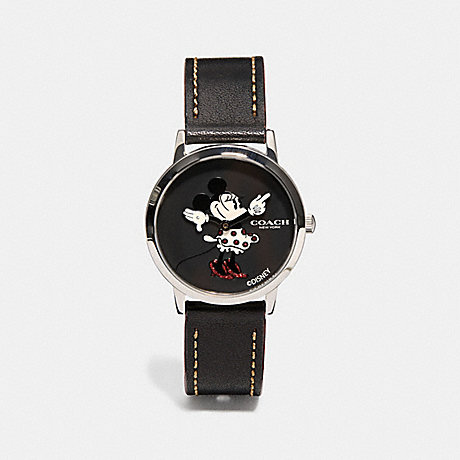 COACH CHELSEA WATCH WITH MINNIE MOUSE, 32MM - BLACK - w1556
