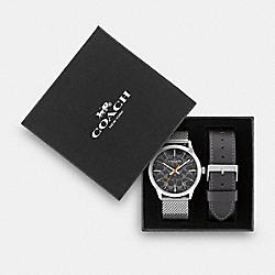 BOXED BAXTER WATCH GIFT SET, 39MM - GREY - COACH W1681