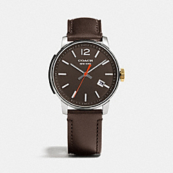 BLEECKER THREE HAND STAINLESS STEEL STRAP WATCH - DARK BROWN - COACH W4000
