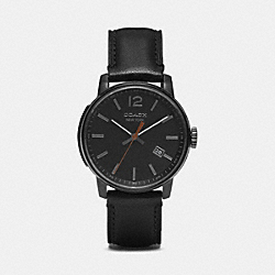 BLEECKER THREE HAND IONIZED PLATED LEATHER STRAP WATCH - BLACK - COACH W4008