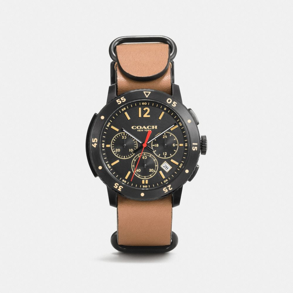 BLEECKER SPORT BLACK IONIZED PLATING LEATHER STRAP WATCH - Alternate View