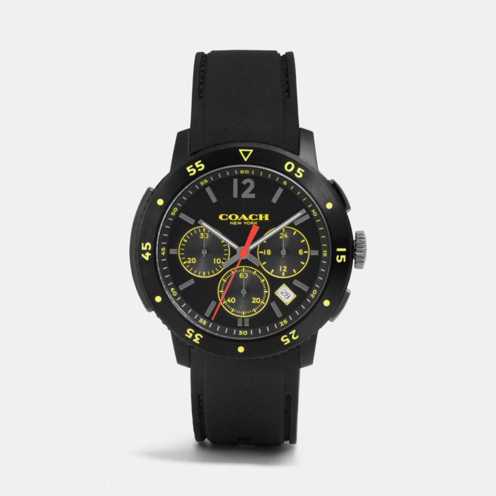 BLEECKER SPORT IONIZED PLATING CHRONO RUBBER STRAP WATCH