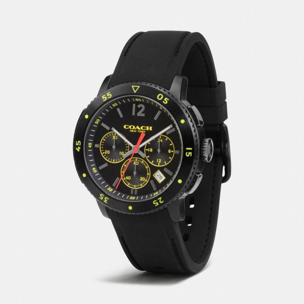 Bleecker Sport Ionized Plating Chrono Rubber Strap Watch - Alternate View A1