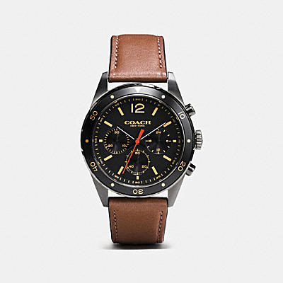 SULLIVAN SPORT CHRONO IONIZED PLATED LEATHER STRAP WATCH