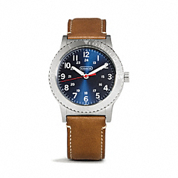 RIVINGTON STAINLESS STEEL LEATHER STRAP WATCH - w5001 - FAWN