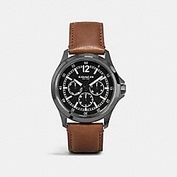BARROW IONIZED PLATED MULTIFUNCTION LEATHER STRAP WATCH - BLACK/SADDLE - COACH W5007