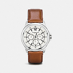 COACH BARROW STAINLESS STEEL MULTIFUNCTION LEATHER STRAP WATCH - PARCHMENT/SADDLE - W5012