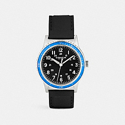 RIVINGTON STAINLESS STEEL RUBBER STRAP WATCH - BLACK/AZURE - COACH W5015