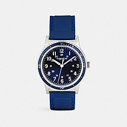COACH RIVINGTON STAINLESS STEEL RUBBER STRAP WATCH - NAVY - W5015