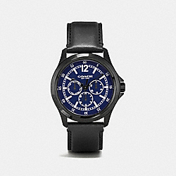 COACH BARROW IONIZED PLATED MULTIFUNCTION STRAP WATCH - BLACK/NAVY - W5019