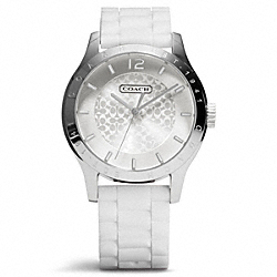 COACH MADDY STAINLESS STEEL RUBBER STRAP WATCH - WHITE - W6000