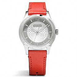 MADDY STAINLESS STEEL LEATHER STRAP WATCH - VERMILLION - COACH W6003