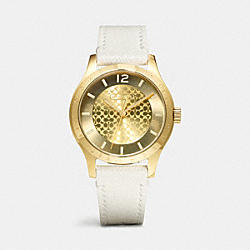 COACH MADDY GOLD PLATED LEATHER STRAP WATCH - WHITE - W6004