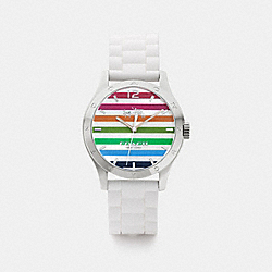 MADDY STAINLESS STEEL RUBBER STRAP WATCH - RAINBOW - COACH W6033