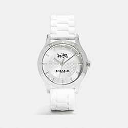 MADDY STAINLESS STEEL 40MM RUBBER STRAP WATCH - WHITE - COACH W6033