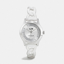 MADDY STAINLESS STEEL BRAIDED RUBBER STRAP WATCH - WHITE - COACH W6042
