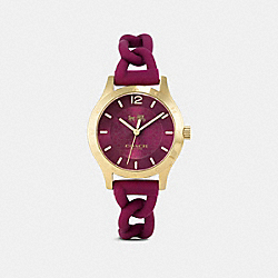 COACH MADDY GOLD PLATED BRAIDED RUBBER STRAP - BLACK CHERRY - W6043