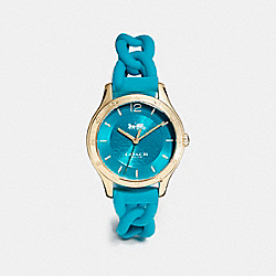 COACH MADDY BRAIDED RUBBER STRAP WATCH - TEAL - W6043