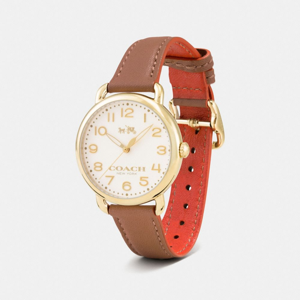 75TH ANNIVERSARY DELANCEY GOLD PLATED LEATHER STRAP WATCH - Alternate View A1