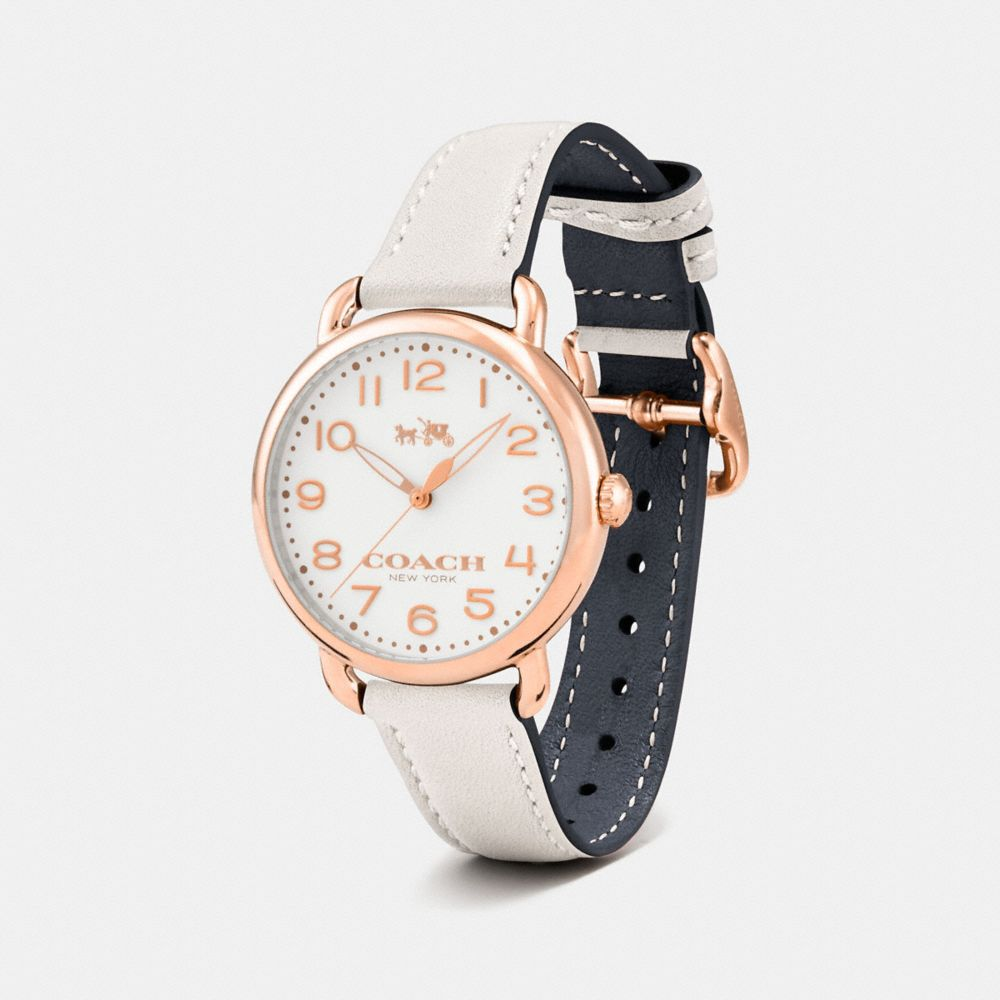 75TH ANNIVERSARY DELANCEY ROSE GOLD LEATHER STRAP WATCH - Alternate View
