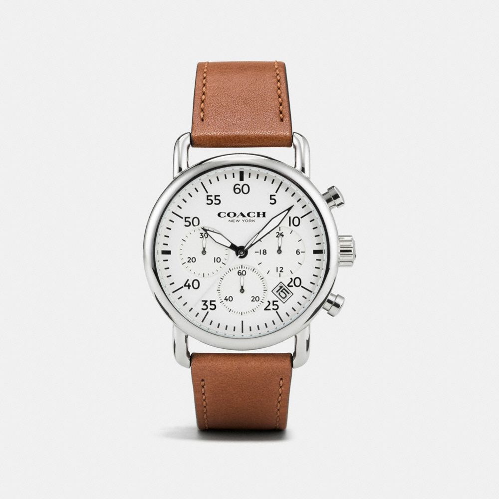 75TH ANNIVERSARY DELANCEY STAINLESS STEEL LEATHER STRAP WATCH - Alternate View