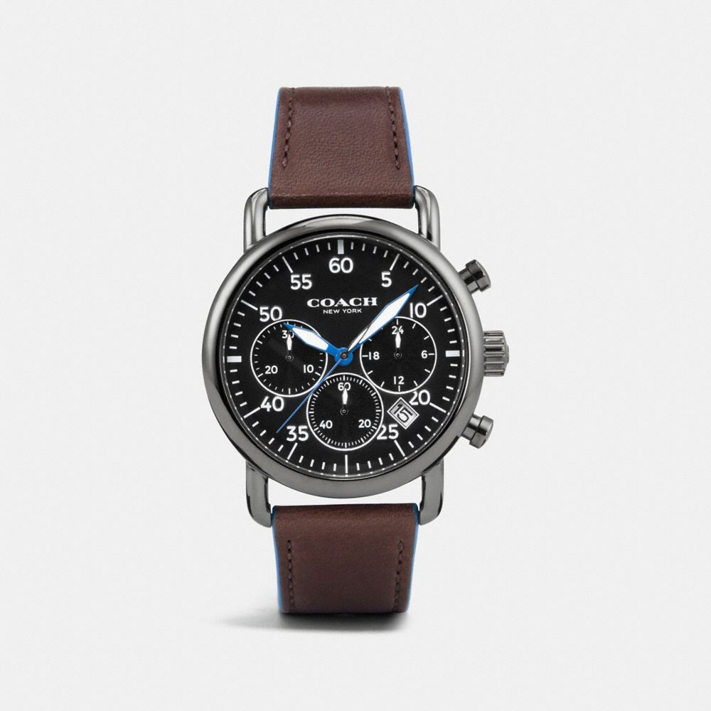 75TH ANNIVERSARY DELANCEY IONIZED PLATED LEATHER STRAP WATCH