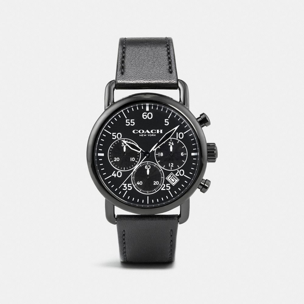 75TH ANNIVERSARY DELANCEY BLACK IONIZED PLATED LEATHER STRAP WATCH - Alternate View
