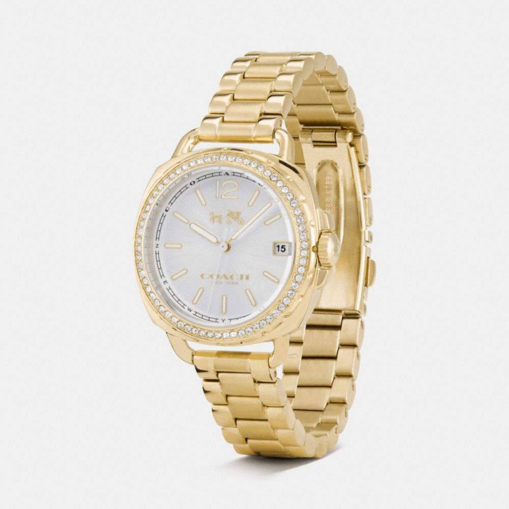 TATUM GOLD TONE SUNRAY DIAL SET BRACELET WATCH - Alternate View