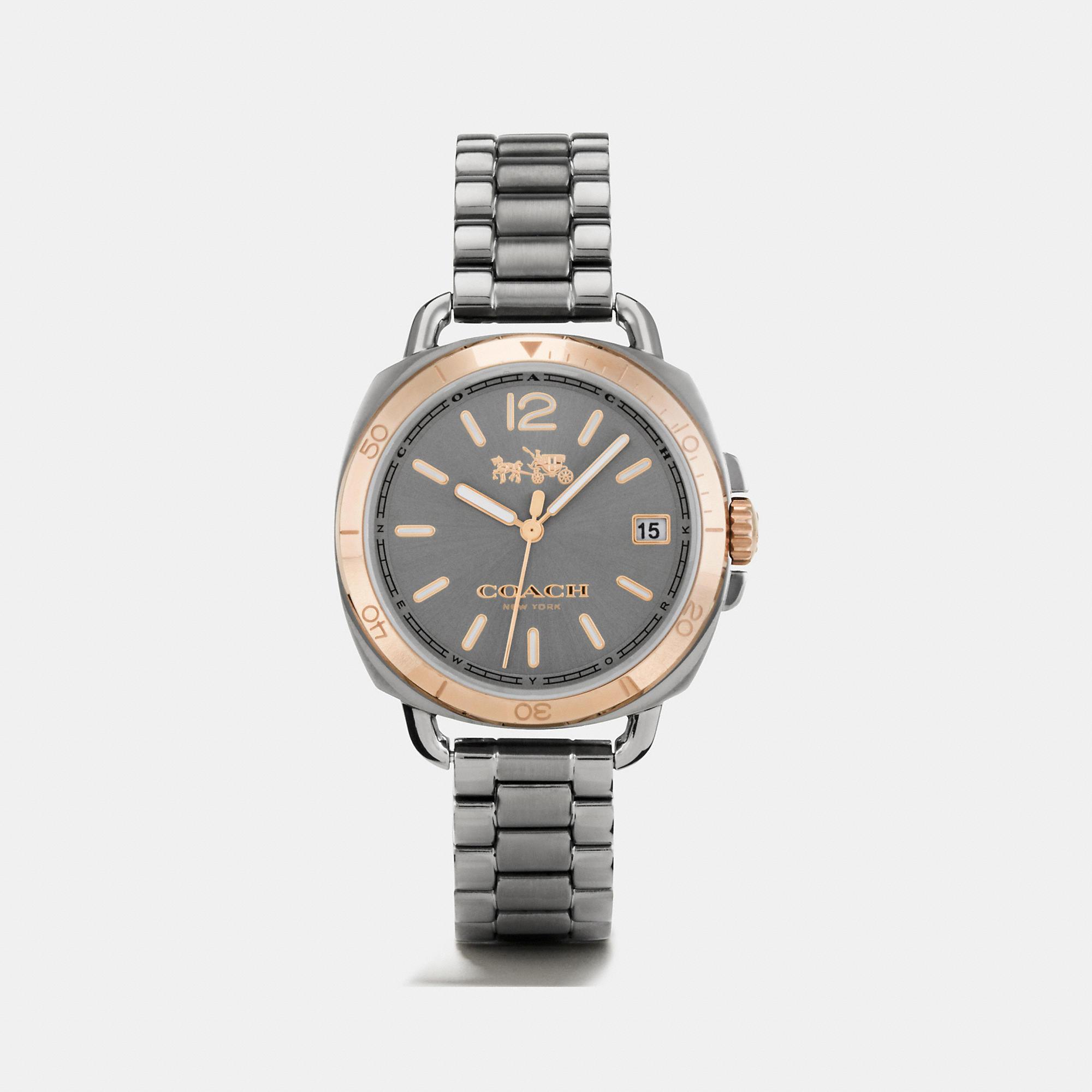Coach Tatum Grey Ionized Plated Sunray Dial Bracelet Watch