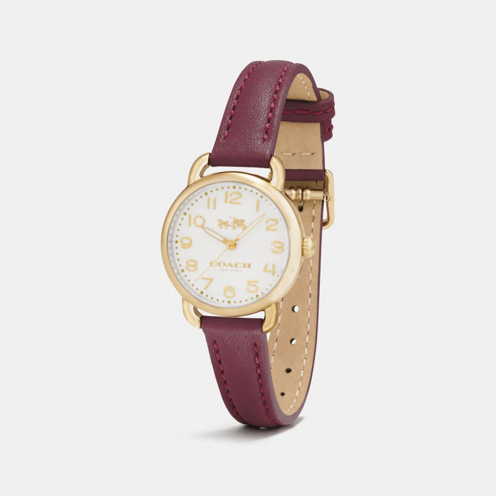 DELANCEY GOLD TONE SUNRAY DIAL LEATHER STRAP WATCH - Alternate View A1