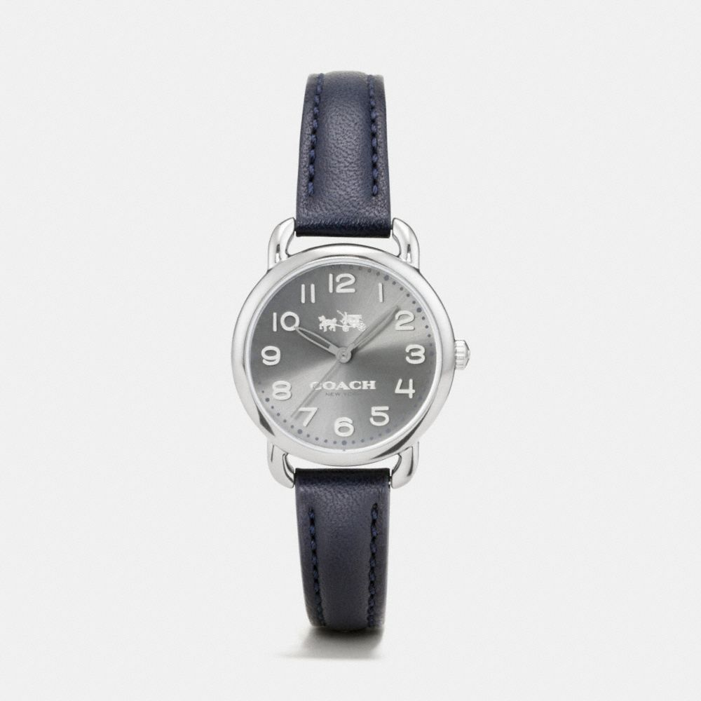 DELANCEY GREY IONIZED PLATED SUNRAY DIAL LEATHER STRAP WATCH