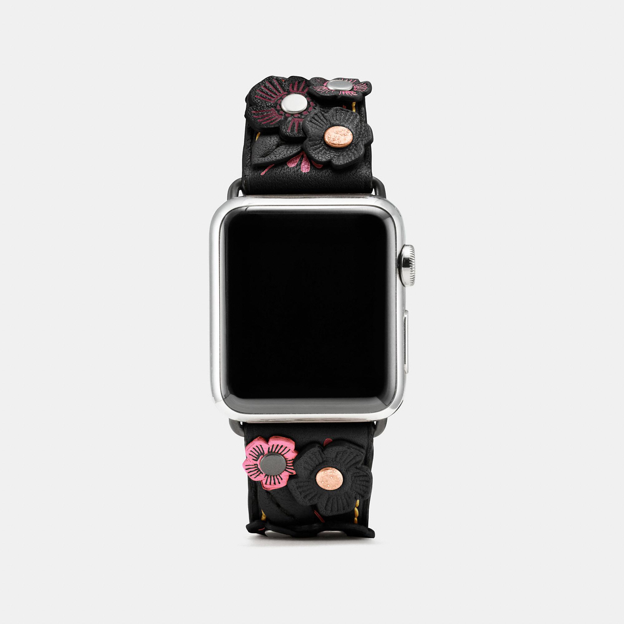 Coach Apple Watch Tea Rose Applique Leather Strap