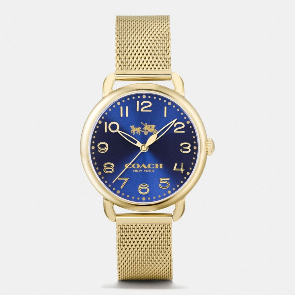DELANCEY GOLD TONE SUNRAY DIAL MESH BRACELET WATCH