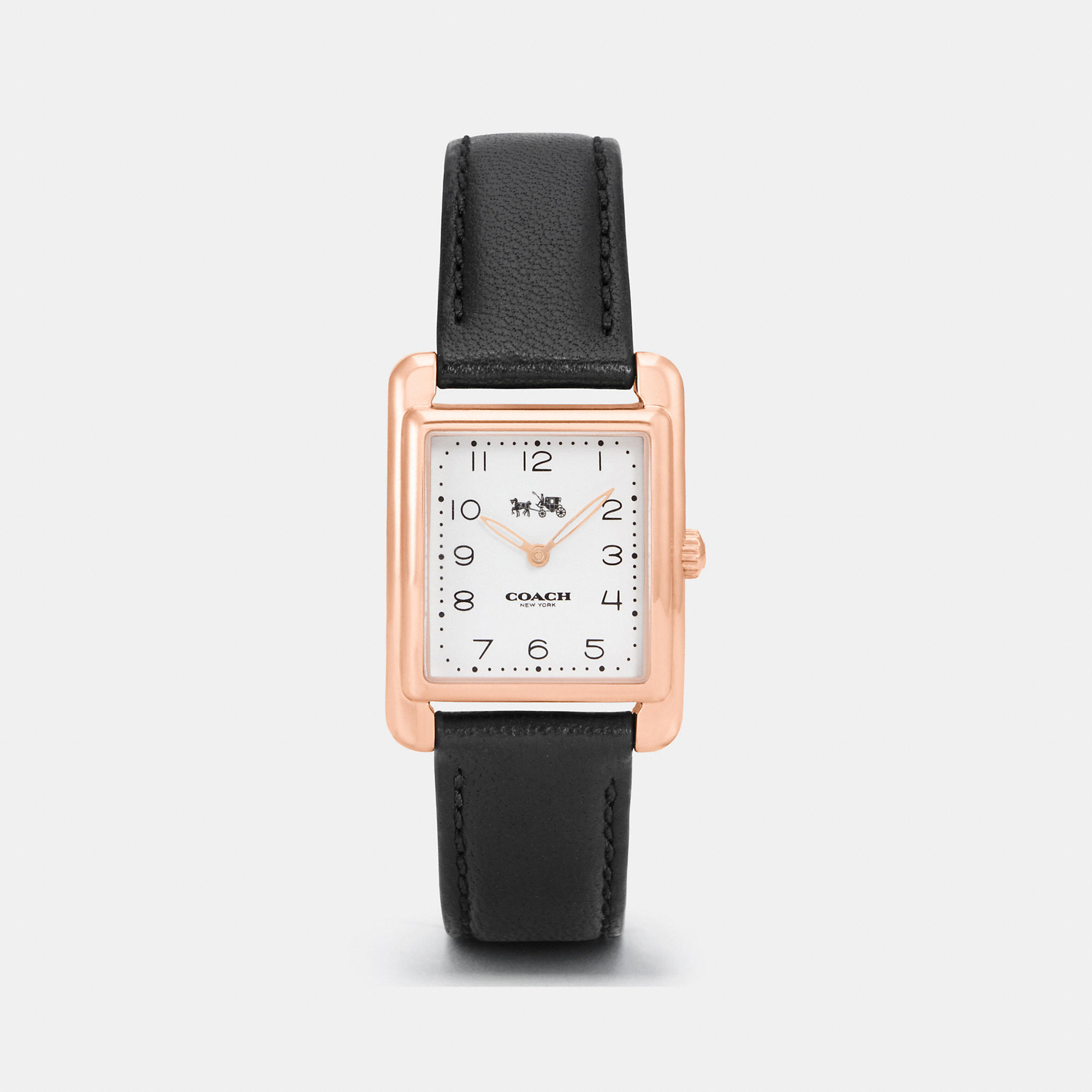 Coach Page Rose Gold Tone Leather Strap Watch
