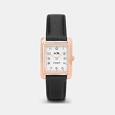 PAGE玫瑰金色真皮皮革錶