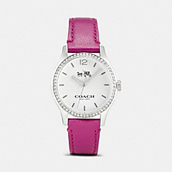 MADDY STAINLESS STEEL SET LEATHER STRAP WATCH - FUCHSIA - COACH W6185