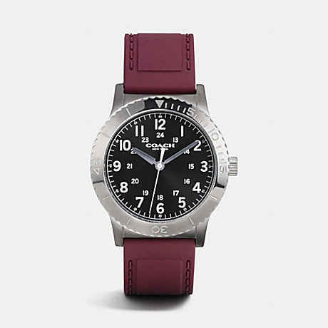 COACH RIVINGTON IONIZED PLATED RUBBER STRAP WATCH - BURGUNDY - w6188