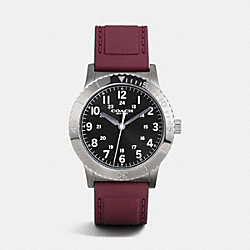 RIVINGTON IONIZED PLATED RUBBER STRAP WATCH - BURGUNDY - COACH W6188