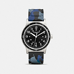 RIVINGTON STAINLESS STEEL RUBBER STRAP WATCH - BLUE CAMO - COACH W6189