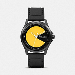 COACH BARROW PAC MAN IONIZED PLATED RUBBER STRAP WATCH - BLACK - W6192